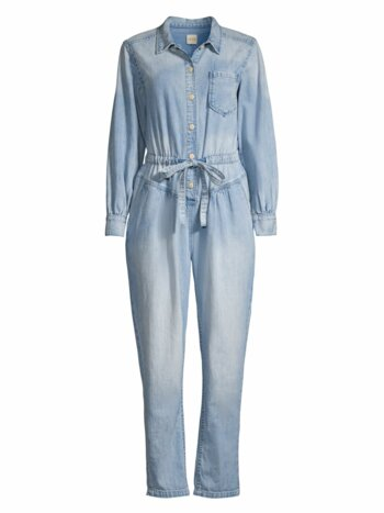 Button Front Denim Jumpsuit