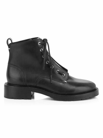 Cannon Zip-Up Leather Combat Boots
