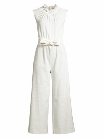 Ruffle Strech-Silk Suiting Jumpsuit