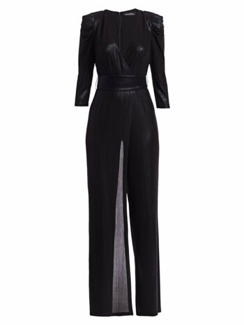 Monroe Metallic Puff-Sleeve Jumpsuit