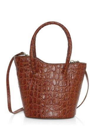 Micro Tulip Croc-Embossed Leather Tote