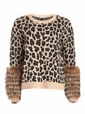 Sheila Leopard Silver Fox Fur-Cuff Stretch-Wool Sweater
