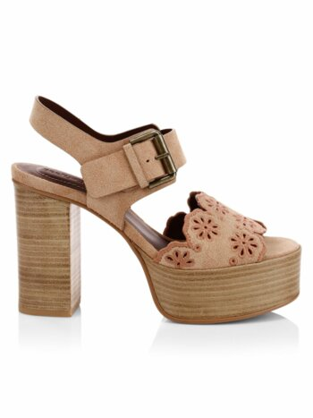Krysty Laser-Cut Leather Platform Sandals