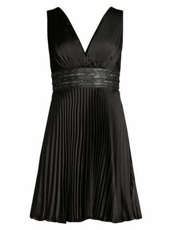 Eve Studded Empire-Waist Pleated Mini Dress