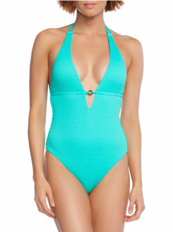 Cabana Solids One-Piece Halter Plungeneck Swimsuit