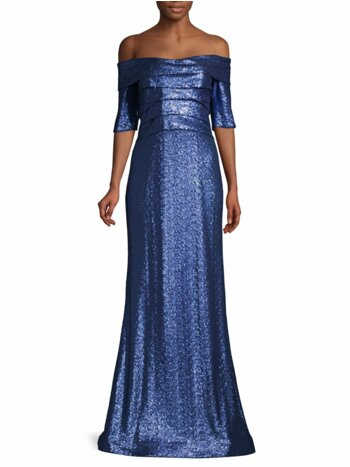 Off-The-Shoulder Sequin Gown