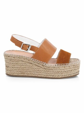 Edie Leather Espadrille Platform Wedge Sandals