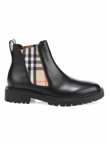 Vintage Check Leather Chelsea Boots