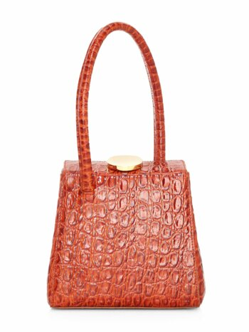 Mademoiselle Croc-Embossed Leather Top Handle Bag