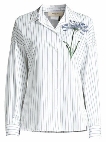 Antony Stripe & Floral Embroidery Cotton Shirt