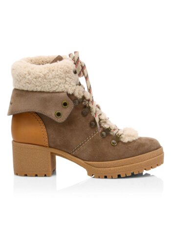 Eileen Lamb Fur-Lined Suede Hiking Boots