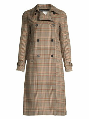 Stain Plaid Trench Coat