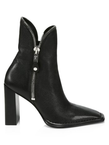 Lane Zipper-Trimmed Leather Ankle Boots