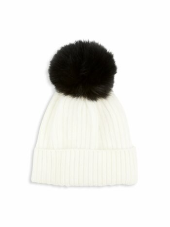 Contrast Fox Fur Pom-Pom Knit Hat