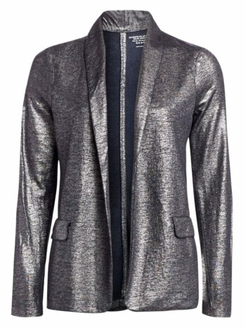 Metallic Linen-Blend Shawl Collar Blazer