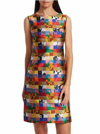 Floral Squared Jacquard Sleeveless Shift Dress