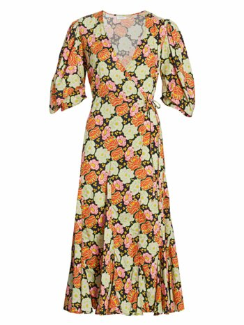 Fiona Neon Floral Puff Sleeve Wrap Dress