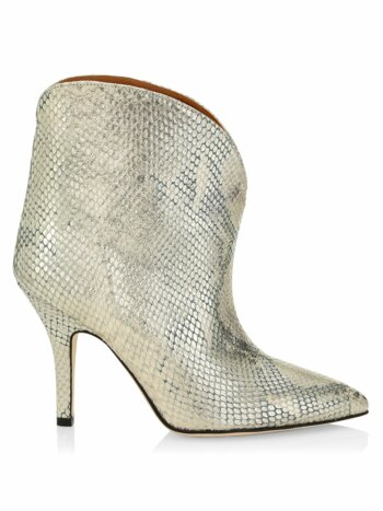 Python-Embossed Lamé Leather Ankle Boots