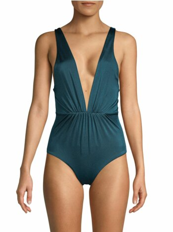 Andie Plunge Lace-Up One-Piece Swimsuit