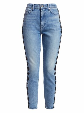 Floral Stripe High-Rise Skinny Ankle Jeans
