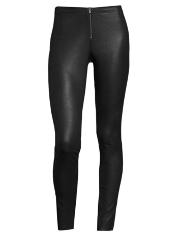 Front-Zip Leather Legging