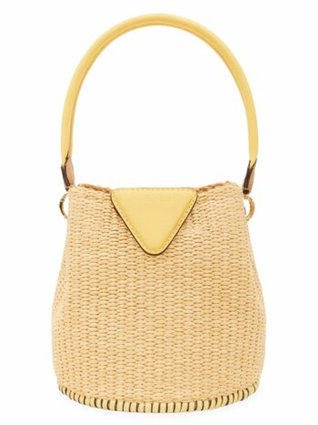 Extra-Small Josh Leather-Trimmed Raffia Bucket Bag