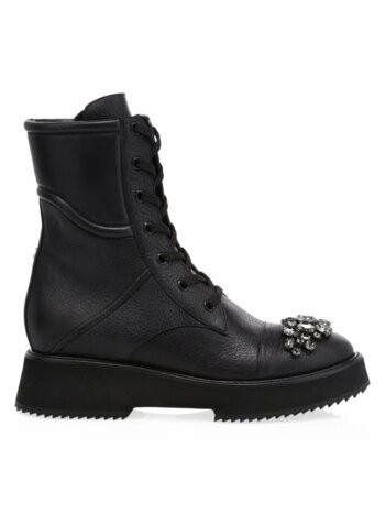 Hadley Crystal-Embellished Leather Combat Boots