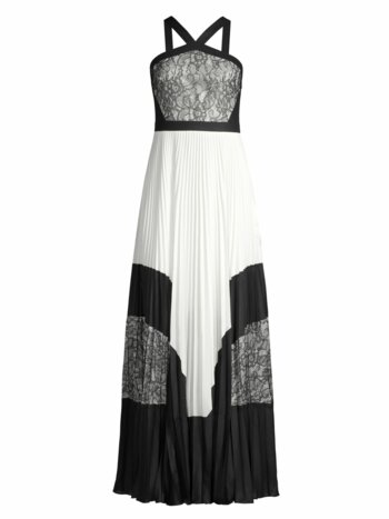 Colorblock Lace & Pleated Halter Maxi Dress