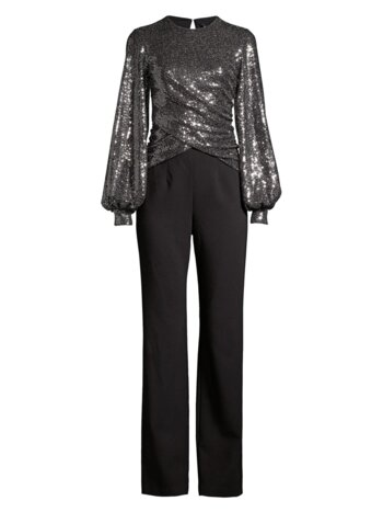 Uno 2-Piece Sequin Puff-Sleeve Top & Crepe Pants Jumpsuit