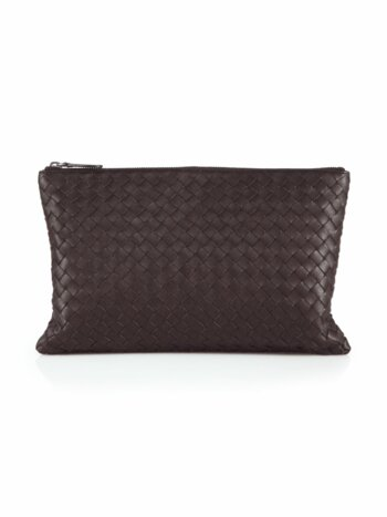 Intrecciato Leather Zip Pouch