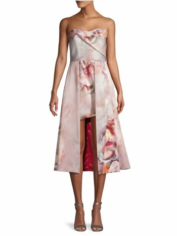 Caine Floral High-Low Cocktail Dress