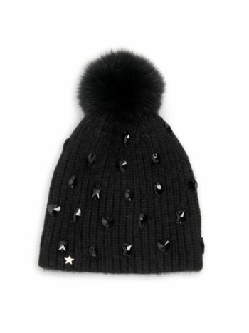 Savage Love Fox Fur Pom-Pom Jewel Knit Beanie