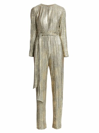 Pleated Foil Jumpsuit