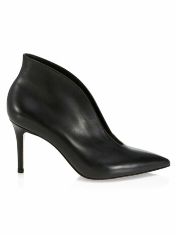 Vania Notched Leather Ankle Boots