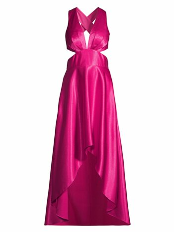 Satin Cutout High-Low Gown
