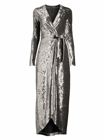 Velvet Ruched Midi Wrap Dress