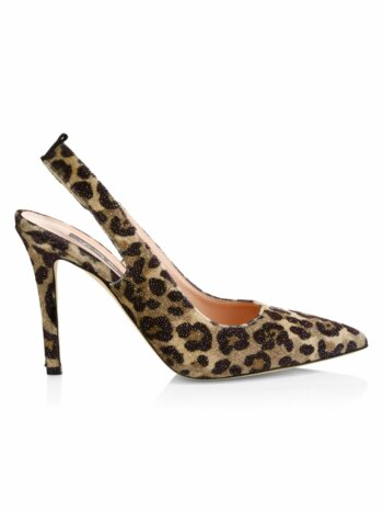 Doe Leopard Print Sling Back Pumps