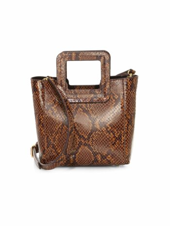Mini Shirley Snakeskin-Embossed Leather Tote