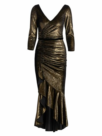 Foiled Velvet Ruched Midi Dress