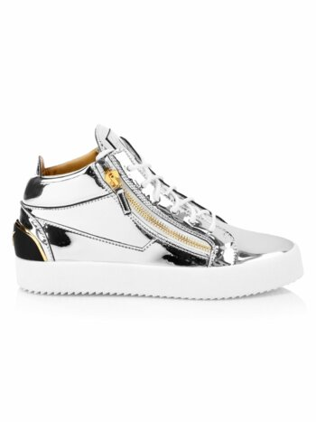 Mirrored Leather Mid-Top Sneakers
