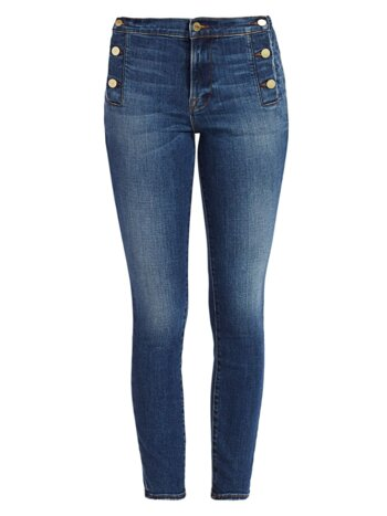 Le High Button-Trim Skinny Jeans
