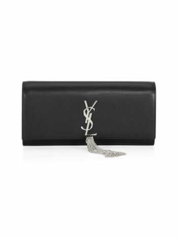 Small Kate Monogram Leather Tassel Clutch