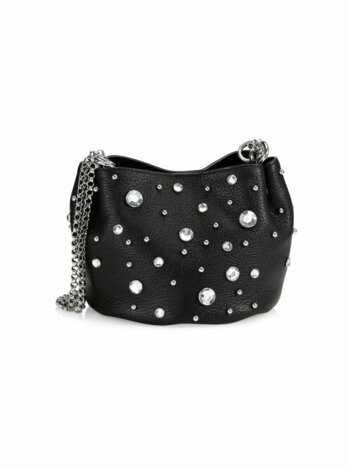 Ruby Crystal-Embellished Leather Shoulder Bag
