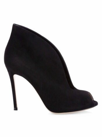Vamp Notched Suede Ankle Boots