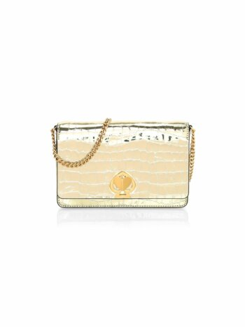 Romy Croc-Embossed Metallic Leather Wallet-On-Chain