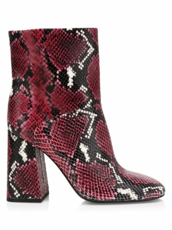Diya Snakeskin-Print Leather Ankle Boots