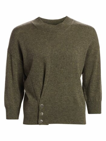 Three-Quarter Sleeve Pinch Cashmere Sweater