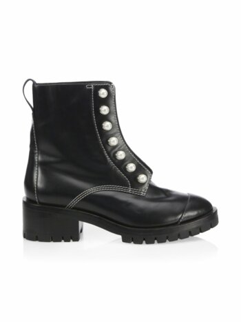 Hayett Faux Pearl Leather Lug Sole Boots