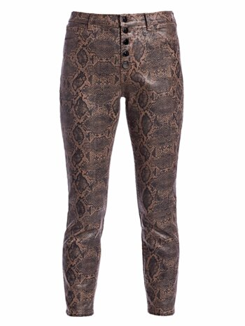 Lillie Snakeskin-Print Coated Cropped Pants