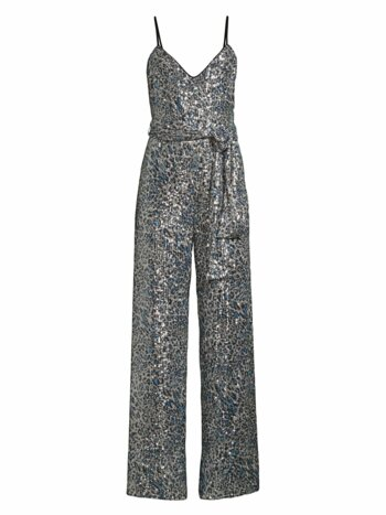 Bracy Leopard Print Sequin Jumpsuit